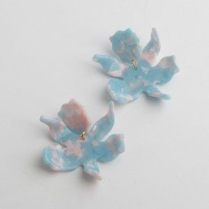 Lele Sadoughi Small Paper Lily Earrings Skyblue